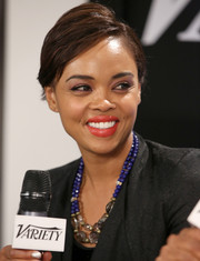 Sharon Leal swiped on some coral lipstick for a bright finish to her look during her visit to the Variety Studio.