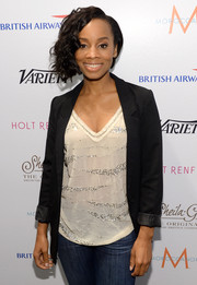 Anika Noni Rose smartened up her casual outfit with a black blazer when she visited the Variety Studio.