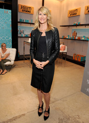 Laura Dern covered up in an edgy-chic quilted leather jacket for her visit to the Variety Studio.