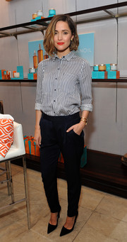 Rose Byrne was tomboy-chic in a black-and-white striped button-down during her visit to the Variety Studio.