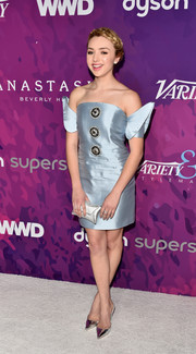 Peyton List sported a unique silhouette at the StyleMakers Awards in an ice-blue Mestiza off-the-shoulder mini dress with winged sleeves and button embellishments.