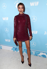 Sarah Hyland looked foxy in a short burgundy sequin dress by Thai Nguyen Atelier at the Variety and Women in Film pre-Emmy celebration.