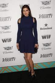 Lake Bell went modern in a navy cold-shoulder sweater dress by David Koma at the Variety and Women in Film pre-Emmy celebration.