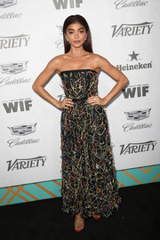 Sarah Hyland looked festive in a confetti-embellished strapless gown by Naeem Khan at the Variety and Women in Film pre-Emmy celebration.