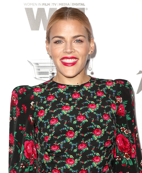 More Pics of Busy Philipps Print Dress (1 of 3) - Dresses & Skirts Lookbook - StyleBistro [variety and women in film,variety and women in films,clothing,lip,red,shoulder,dress,neck,joint,top,crop top,sleeve,busy philipps,arrivals,west hollywood,california,cecconi,2018 pre-emmy celebration]