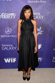 Amandla Stenberg looked chic and charming in a high-neck LBD at the Variety and Women in Film Emmy nominee celebration.