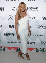 Laverne Cox looked simply divine in a white one-shoulder column dress by Yusef Sanchez at the Variety and Women in Film pre-Emmy celebration.