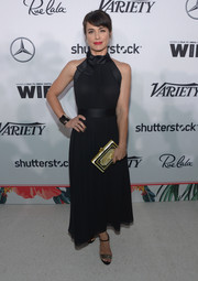 Constance Zimmer kept it classic and feminine in a black halter dress by Kate Spade at the Variety and Women in Film pre-Emmy celebration.