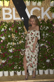 Lottie Moss went ultra feminine in an off-the-shoulder floral frock for the Velocity Black party.