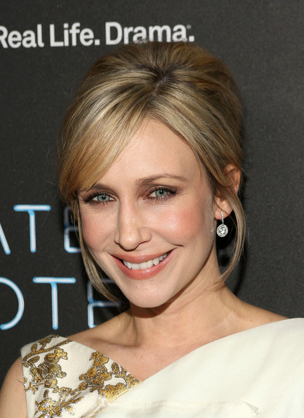 Vera Farmiga Dangling Diamond Earrings [hair,face,hairstyle,eyebrow,blond,chin,shoulder,beauty,skin,forehead,vera farmiga,premiere party,bates motel,west hollywood,california,a e,bates motel premiere party]