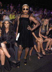 Cynthia Erivo attended the Vera Wang fashion show wearing a loose square-neck LBD from the label.