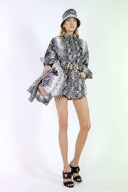 A pair of python-print shorts completed Stella Maxwell's outfit.