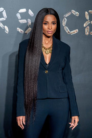 Ciara wore her hair down to her thighs in a sleek straight style at the Versace Pre-Fall 2019 show.