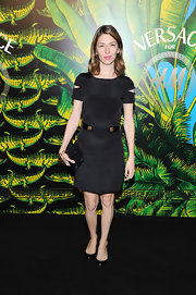 Sofia Coppola kept her accessories simple, opting for black leather flats.
