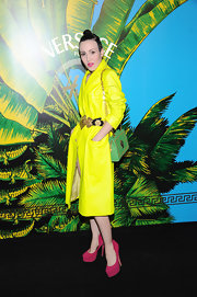 Michelle Harper topped off her chartreuse jacket with bright suede platform pumps.