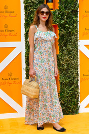 Alexa Chung was sweet and girly in this ruffle-neckline floral maxi dress at the Veuve Clicquot Gold Cup Final.