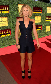 Ali Larter donned a unique spaghetti strap ensemble with decorative buttons for the Polo Classic in LA.