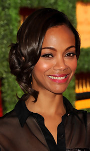 Zoe Saldana's lovely side-swept updo was the perfect daytime look at the Veuve Clicquot Polo Classic.