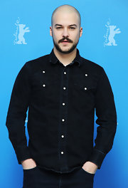 Marc-Andre Grondin chose a casual denim shirt to wear to the Berlin Film Festival.