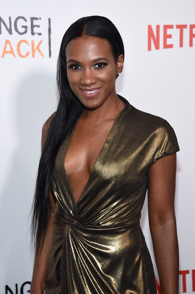 Vicky Jeudy Side Sweep [orange is the new black,hair,clothing,hairstyle,fashion model,long hair,black hair,beauty,fashion,dress,lip,vicky jeudy,new york city,sva theater,premiere]