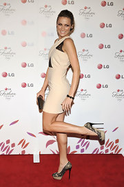 Shantel completed her lace inset mini dress with perfectly matching lace-embellished,platformpumps.