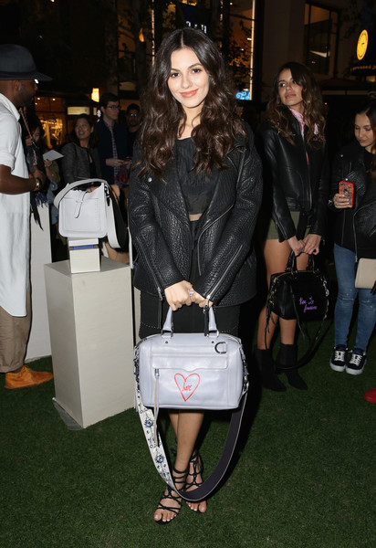Victoria Justice Leather Bowler Bag [clothing,fashion,leather,outerwear,leather jacket,jacket,footwear,event,leg,bag,rebecca minkoff,victoria justice,see now buy now fashion show,la,california,the grove,buy now fashion show]