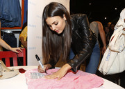 Victoria Justice was edgy-chic in a black leather jacket while attending Primark's third US store opening.