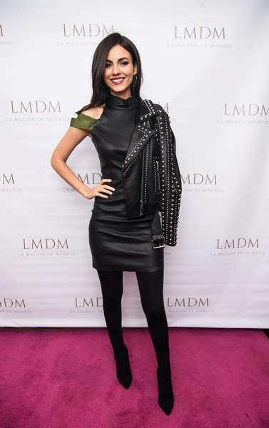 Victoria Justice Leather Jacket [clothing,fashion model,fashion,shoulder,dress,joint,leather,tights,footwear,leggings,new york city,lmdm grand opening,party,lmdm grand opening party,victoria justice]