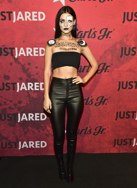 Victoria Justice Crop Top [fashion model,shoulder,flooring,joint,leg,fashion,tights,thigh,carpet,latex clothing,jared,victoria justice,clothing,fashion model,shoulder,flooring,halloween party,goya studios,just jared,annual halloween party,victoria justice,goya studios sound stage,celebrity,model,just jared,runway,supermodel,clothing]