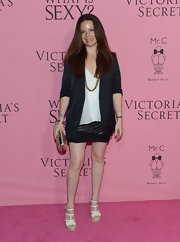 Holly Marie Combs stepped out to the Victoria's Secret What Is Sexy? party wearing ivory patent leather platform wedges.