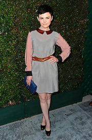 "Ginnifer Goodwin looked school girl-chic in this silky collared dress at the premiere of Paul McCartney's ""My Valentine"" music video."