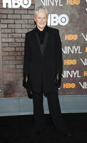 Glenn Close went the masculine route in this oversized black suit during the New York premiere of 'Vinyl.'