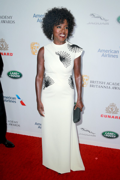 Viola Davis Embroidered Dress [red carpet,white,clothing,carpet,dress,shoulder,fashion,hairstyle,flooring,premiere,arrivals,viola davis,britannia awards,beverly hills,california,the beverly hilton hotel,british academy,american airlines,jaguar land rover]