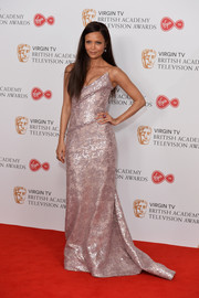 Thandie Newton was beyond stunning in this strapless pink sequin gown by Vivienne Westwood at the Virgin TV BAFTA Television Awards.