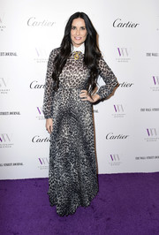 Demi Moore opted for a gray leopard-print maxi dress by Dior when she attended the Visionary Women event.