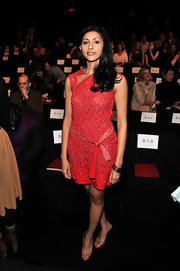 Reshma Shetty wore a lovely red lace-overlay dress to the Vivienne Tam Fall 2011 fashion show.