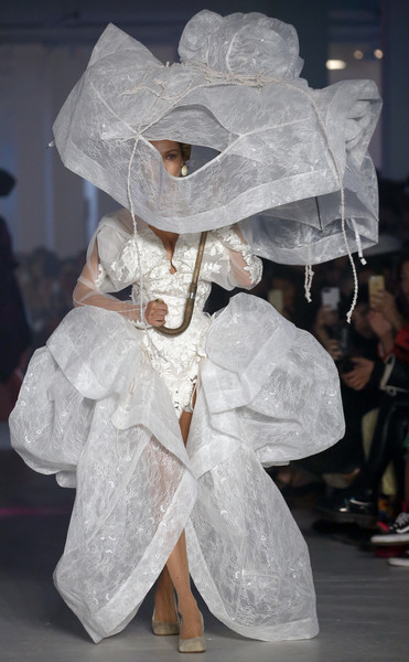 More Pics of Bella Hadid Socks (1 of 5) - Bella Hadid Lookbook - StyleBistro [white,fashion,fun,dress,art,event,transparent material,paper,fashion design,haute couture,vivienne westwood,bella hadid,part,runway,summer 2020,paris,france,vivienne westwood womenswear spring,paris fashion week,show]