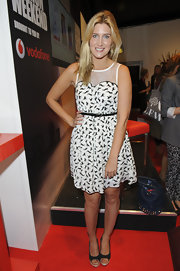 Francesca Hull made a fashionable appearance at the Vodafone London Fashion Weekend in a whimsical black-and-white horse print dress.
