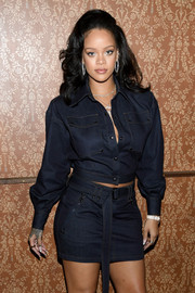 Rihanna paired her jacket with a matching mini skirt.