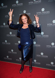 Diane von Furstenberg shimmered in a metallic blue skirt suit at the Voices of Solidarity 2016.