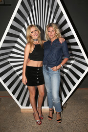 Alexandra Richards was casual and cool in a blue denim shirt at the Volcom x GMJ premiere collection launch.