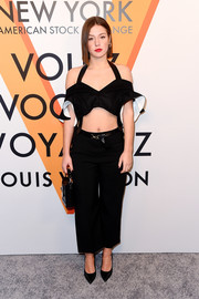 Adele Exarchopoulos teamed her cute and sexy top with cropped wide-leg pants.