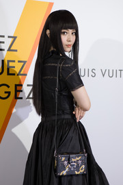 Fan Bingbing attended the 'Volez, Voguez, Voyagez' exhibition carrying a Louis Vuitton Petit Malle chain-print bag.