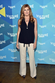 Connie Britton sported a simple blue blouse and white pants combo on day 1 of the Vulture Festival.