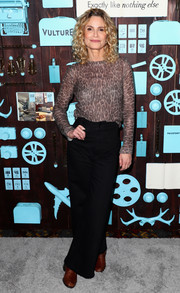 Kyra Sedgwick kept it casual in a leopard-print sweater at the Girls Weekend brunch.