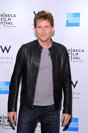 Denis Leary looked neat and handsome in a black leather jacket at the Tribeca Film Festival Awards.