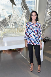 Leigh Lezark kept it casual in a painterly-print tunic while celebrating the opening of W Dubai.