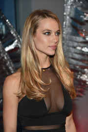 Hannah Ferguson wore her hair down with a side part and flippy ends while celebrating the opening of W Dubai.