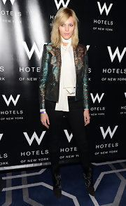 A metallic blazer added both color and shimmer to Anja Rubik's ensemble at the W Love Hangover Ball.