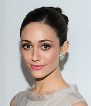 Emmy Rossum wore a pair of 9-carat diamond cluster earrings at 'W' Magazine's 69th Annual Golden Globe Awards Celebration.